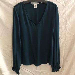 Teal DVF silk blouse